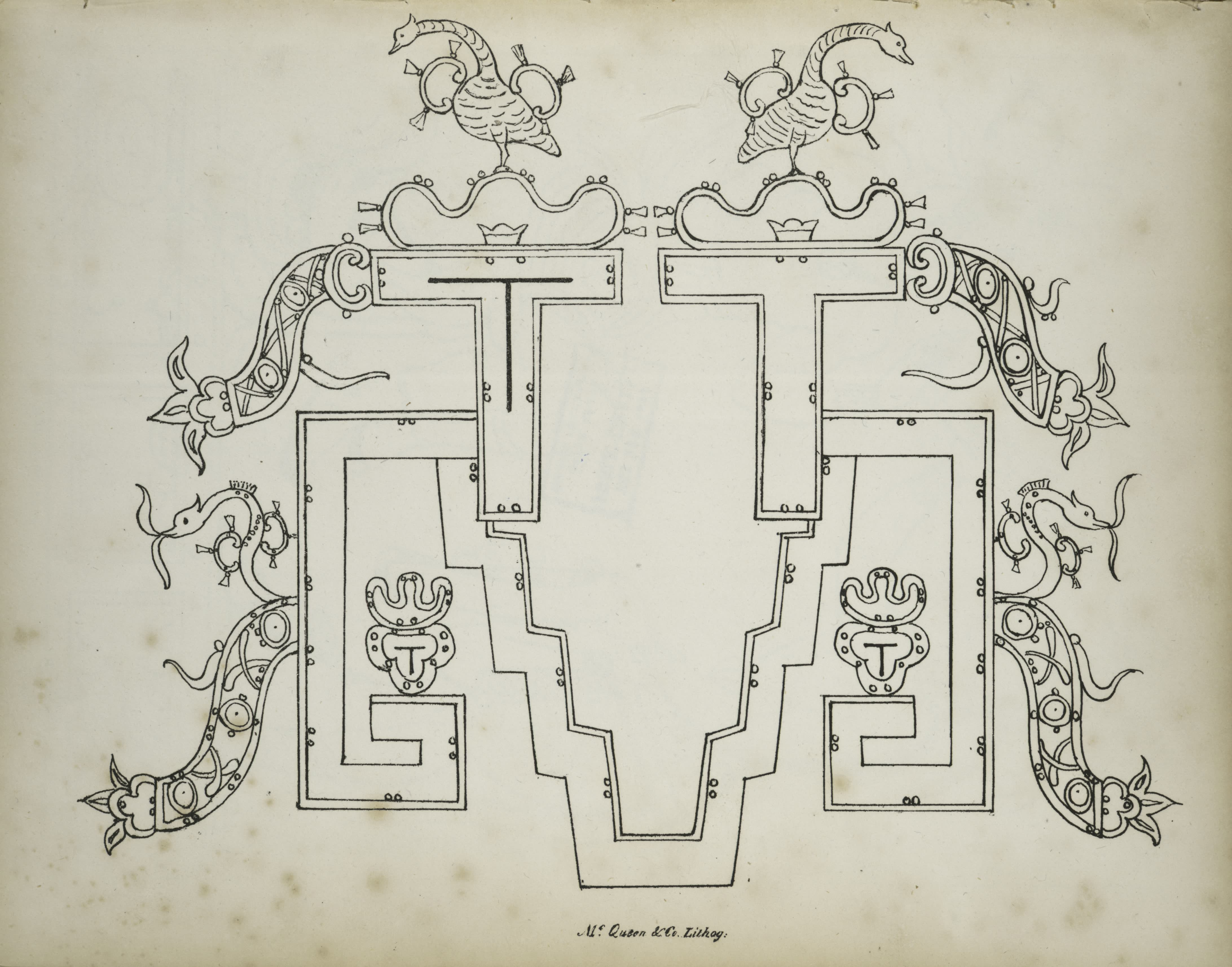 Description of the Ruins of an Ancient City - Architectural element decorated with birds and abstract designs (1822)