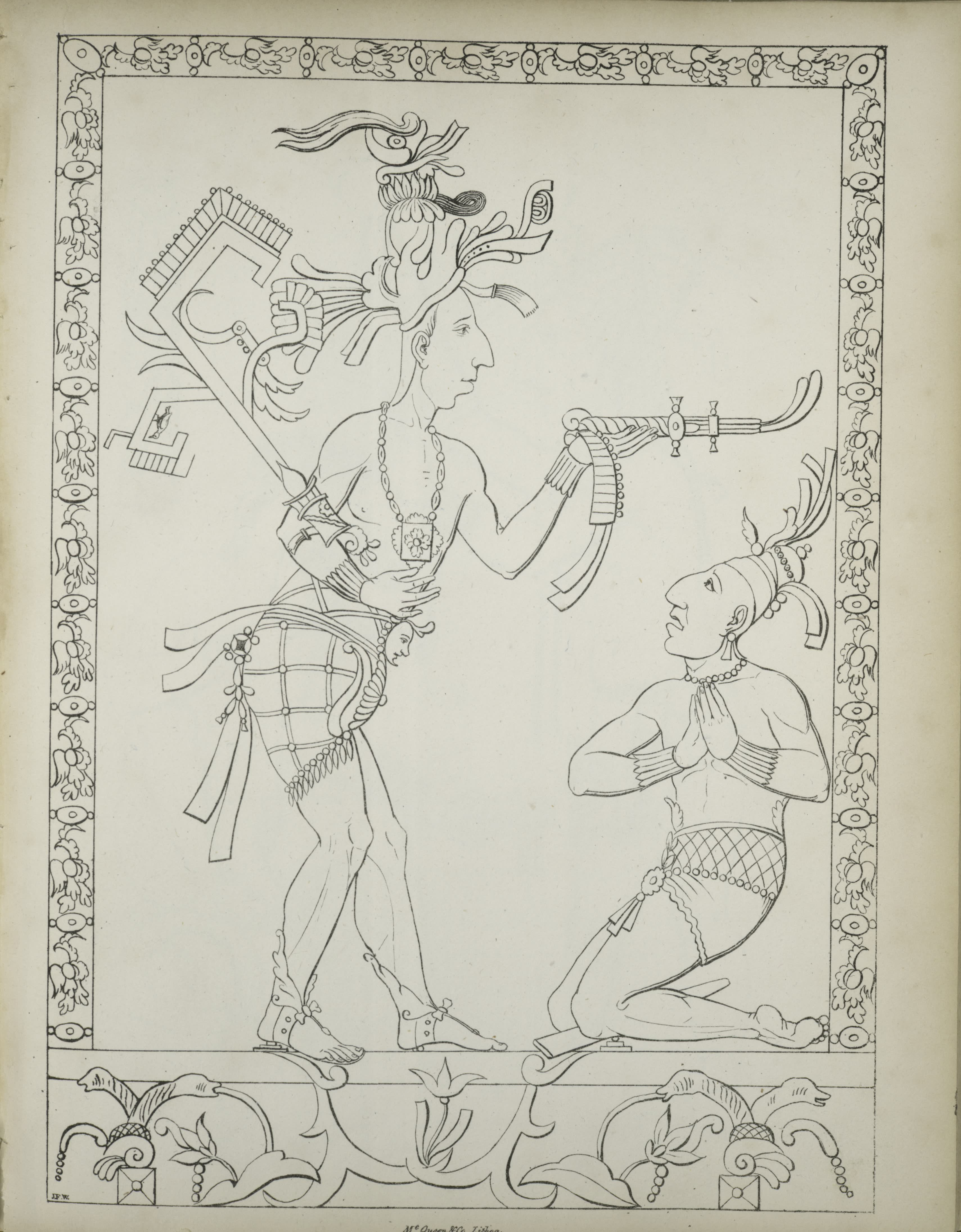 Description of the Ruins of an Ancient City - Two figures, one standing, one kneeling, with naturalistic boarder (1822)