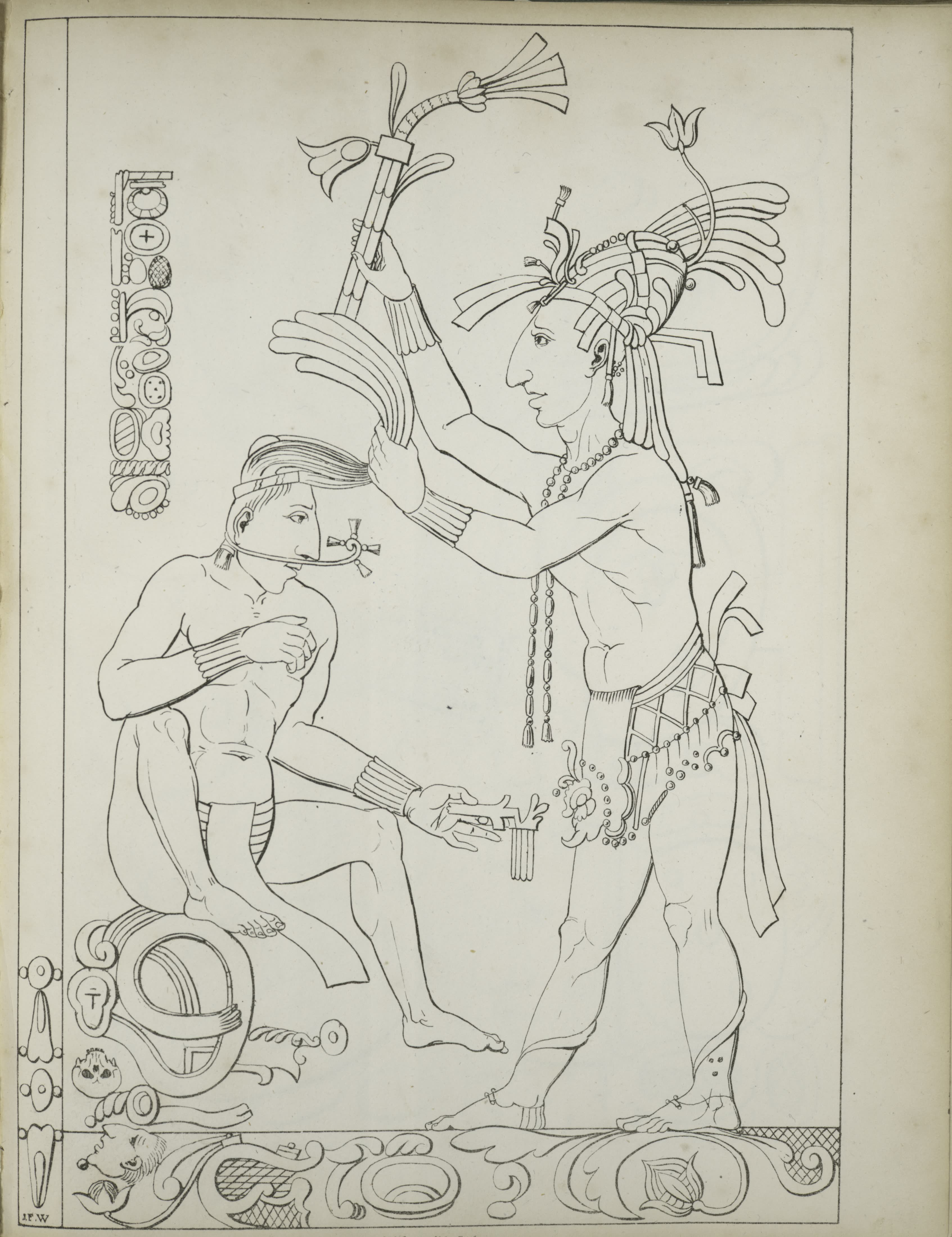 Description of the Ruins of an Ancient City - Two figures, one seated and one standing, with tools and decorative elements (1822)