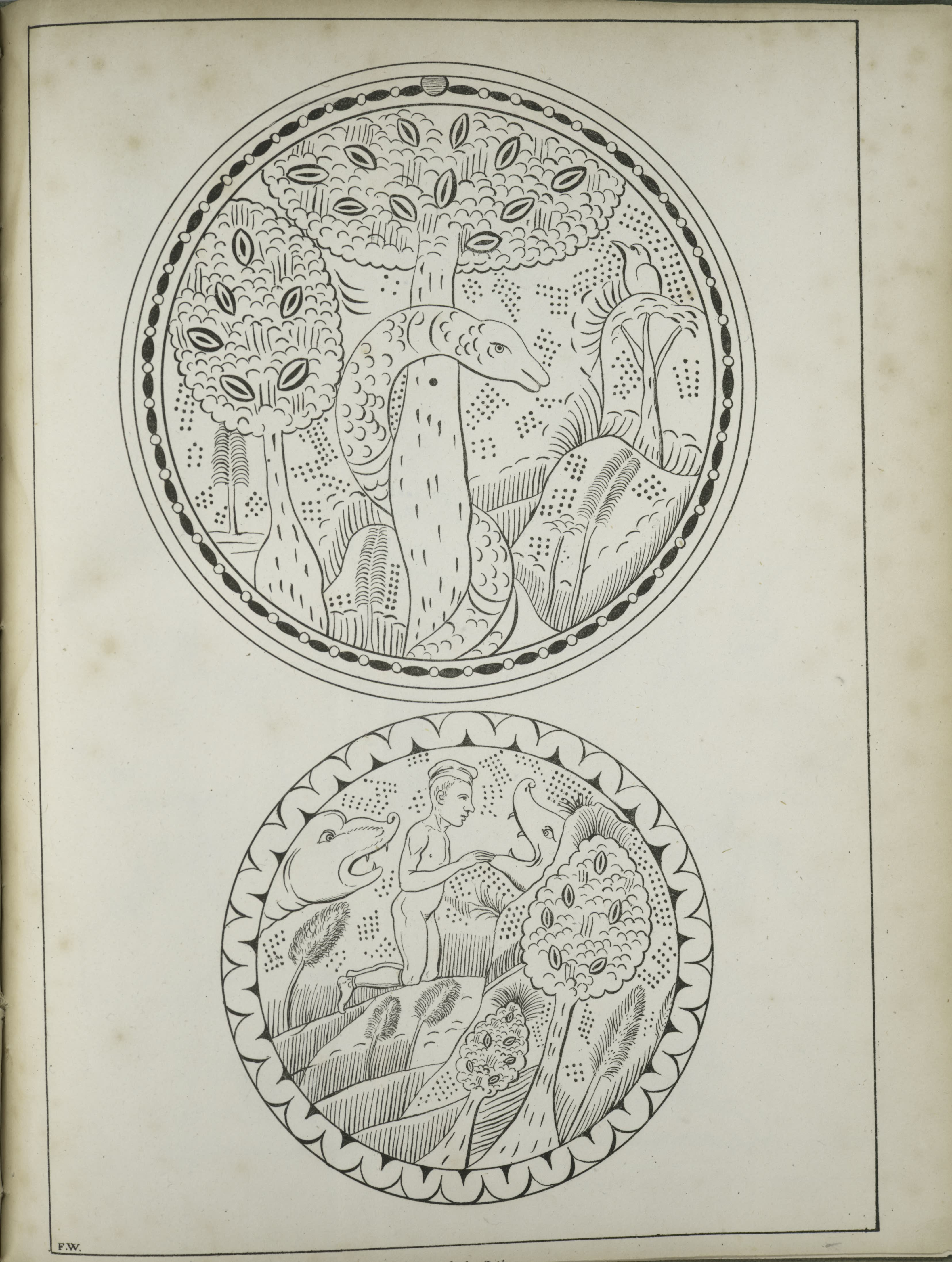 Description of the Ruins of an Ancient City - Two circular images, trees with a snake climbing one tree and a bird perched on another ; a human figure with two animal-like figures (1822)