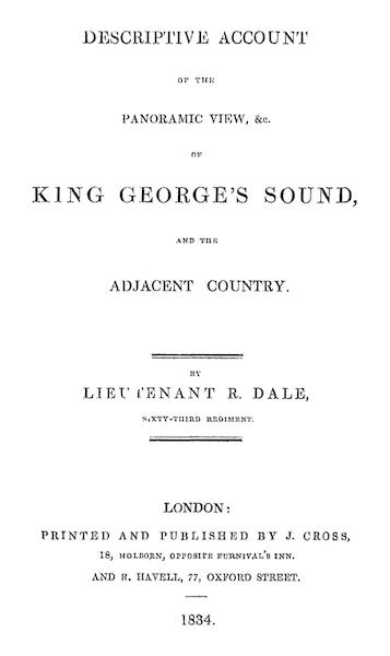 Descriptive Account of the Panoramic View of King George's Sound - Title Page (1834)
