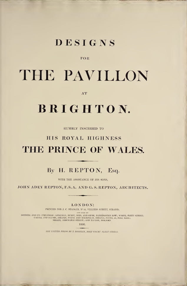 English - Designs for the Pavillon at Brighton