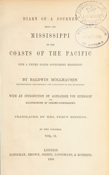 Journey from the Mississippi Vol. 1 - Title Page (1858)