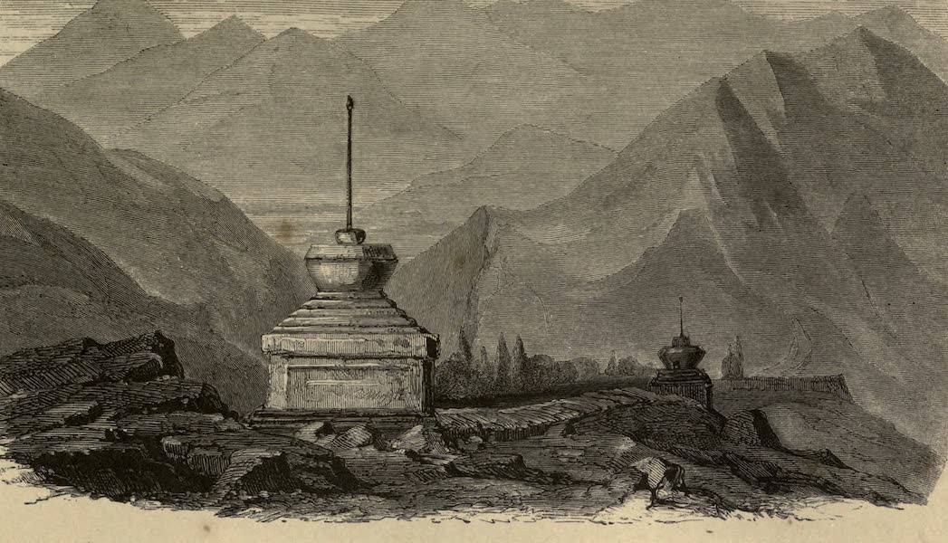 Diary of a Pedestrian in Cashmere and Thibet - Thibetian Monuments and Wall of Inscribed Stones, Road to Egnemo (1863)