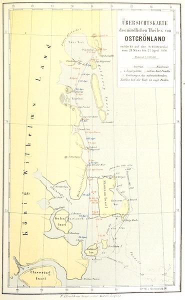 Die zweite Deutsche Nordpolarfahrt Vol. 1 - Ubersichtskarte des nordlichen Theiles von Ostgronland (1873)