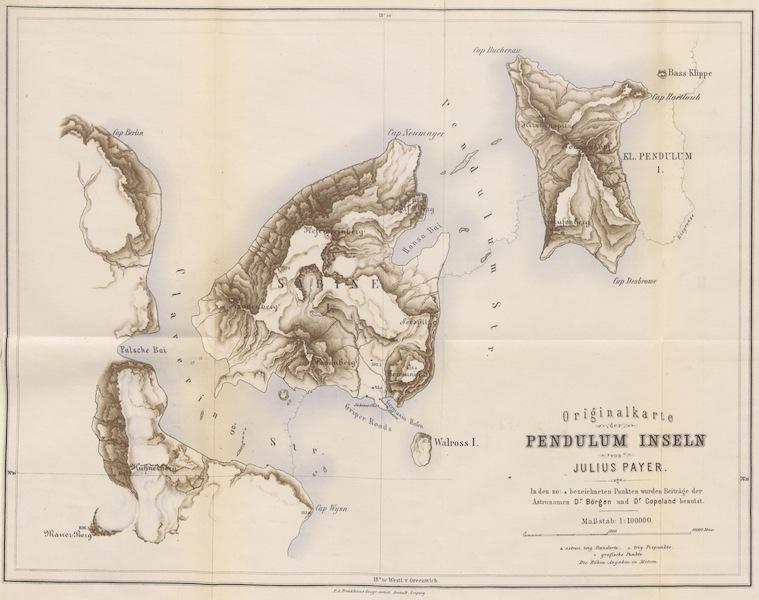Die zweite Deutsche Nordpolarfahrt Vol. 1 - Originalkarte der Pendulum Inseln (1873)