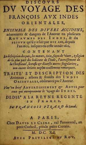 French - Discours du Voyage des Francois aux Indes Orientales