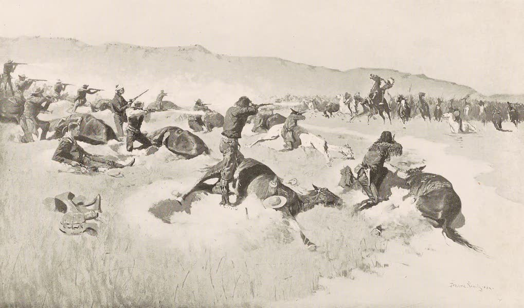 Drawings by Frederic Remington - Forsythe's Fight on the Republican River - 1868 - The Charge of Roman Nose (1897)