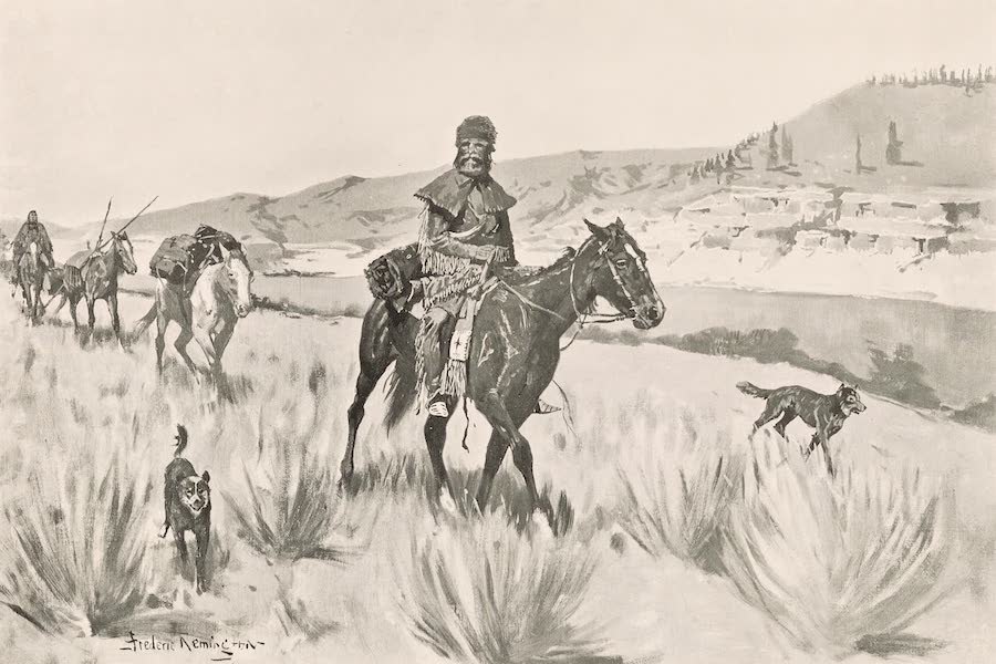 Drawings by Frederic Remington - Hunting on a Beaver Stream - 1840 (1897)