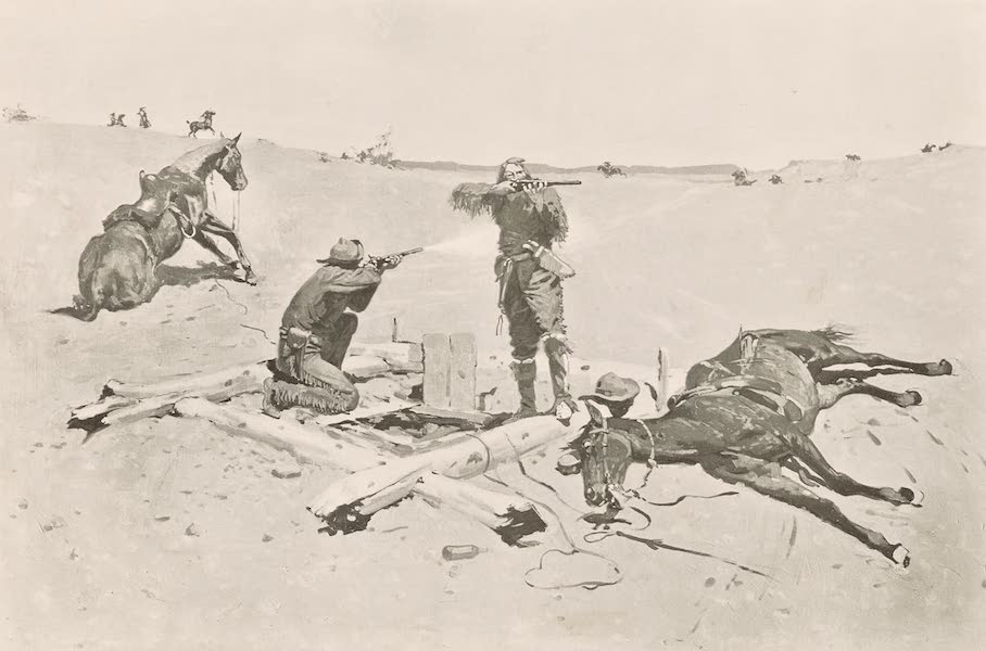 Drawings by Frederic Remington - Fight Over a Water Hole (1897)