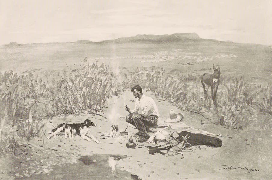 Drawings by Frederic Remington - The Sheep Herder's Breakfast (1897)