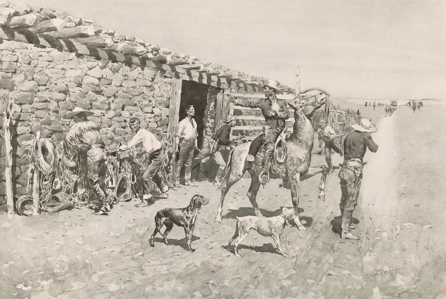 Drawings by Frederic Remington - An Overland Station - Indians Coming in with the Stage (1897)