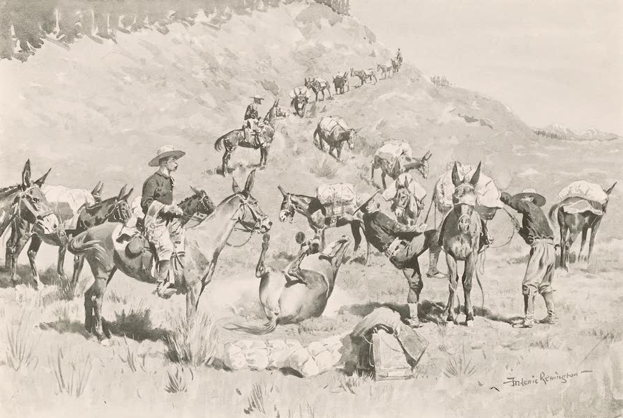 Drawings by Frederic Remington - A Government Pack Train (1897)