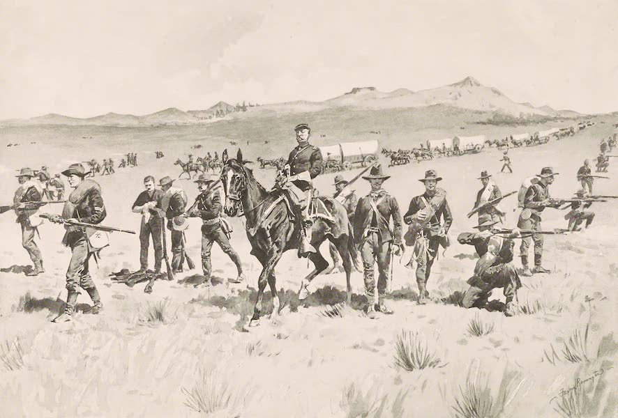 Drawings by Frederic Remington - Protecting a Wagon Train (1897)
