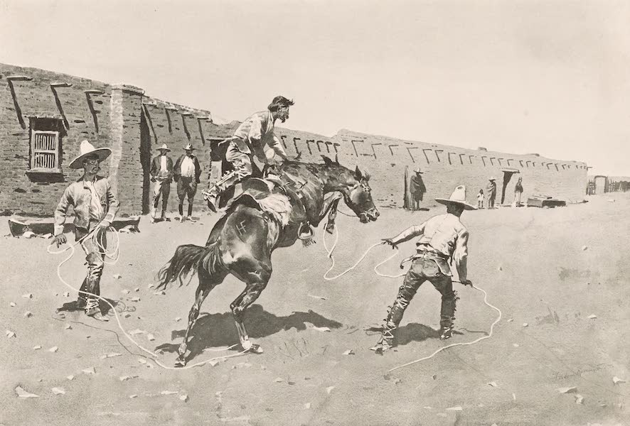 Drawings by Frederic Remington - Mexican Vaqueros Breaking a Broke (1897)