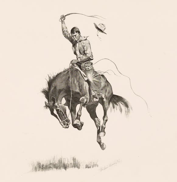 Drawings by Frederic Remington - A Running Bucker (1897)