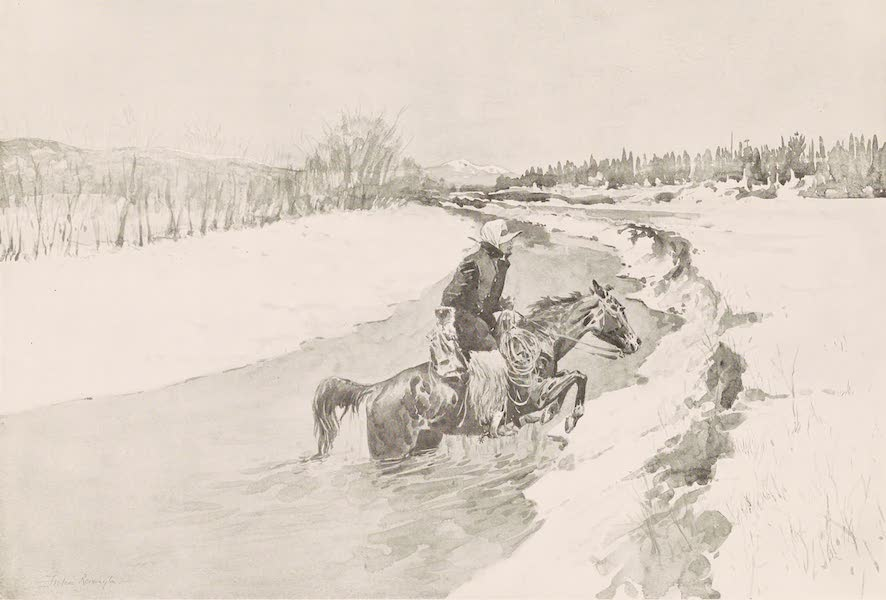 Drawings by Frederic Remington - Riding the Range - Winter (1897)