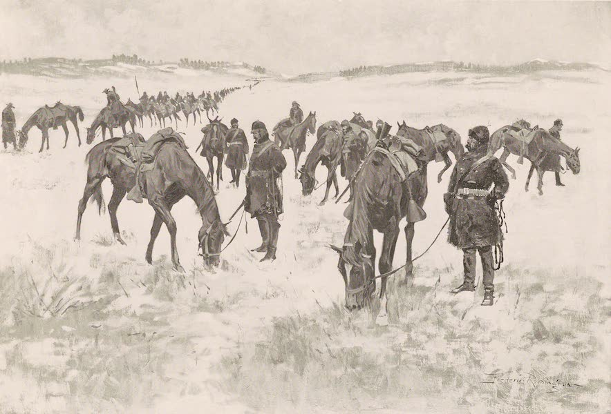 Drawings by Frederic Remington - Cavalry Column Out of Forage (1897)