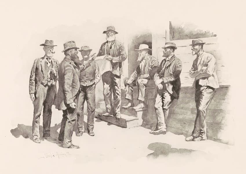 Drawings by Frederic Remington - High Finance at the Cross-Roads (1897)