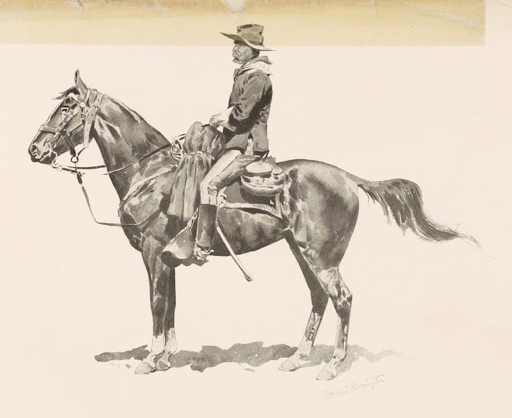Drawings by Frederic Remington - U.S. Cavalry Officer on Campaign (1897)