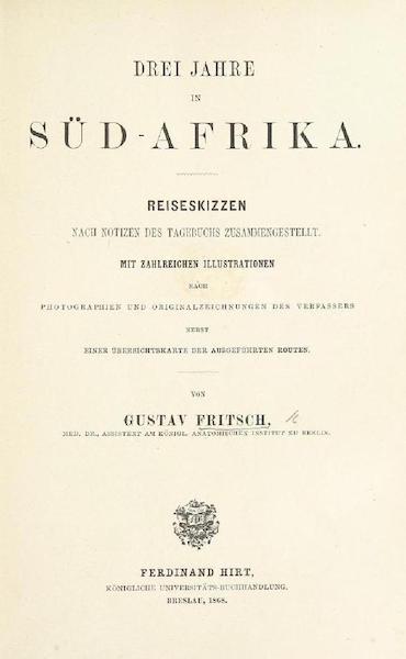 Drei Jahre in Sud-Afrika - Title Page (1868)
