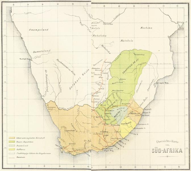 Drei Jahre in Sud-Afrika - Übersichts Karte von Sud-Afrika (1868)