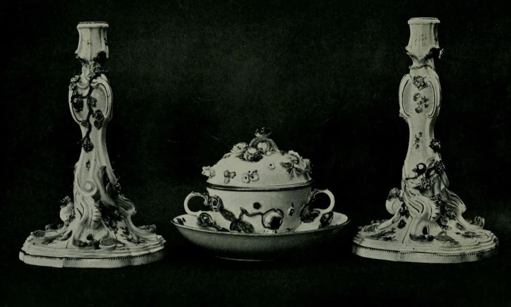 Dresden China - Candlesticks and Ecuelle (1909)