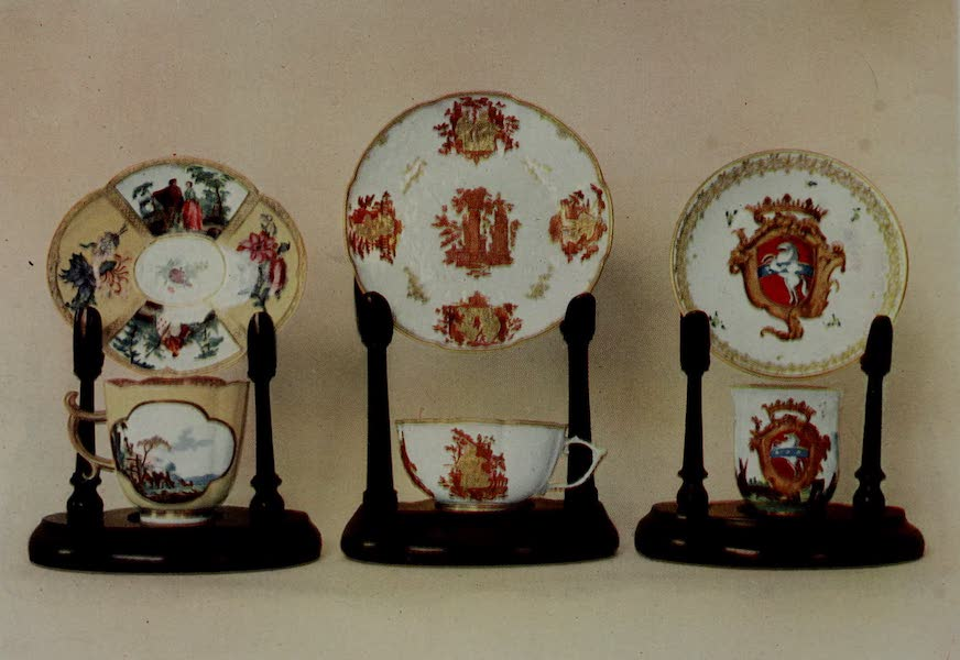 Dresden China - Three Characteristic Cups and Saucers (1909)