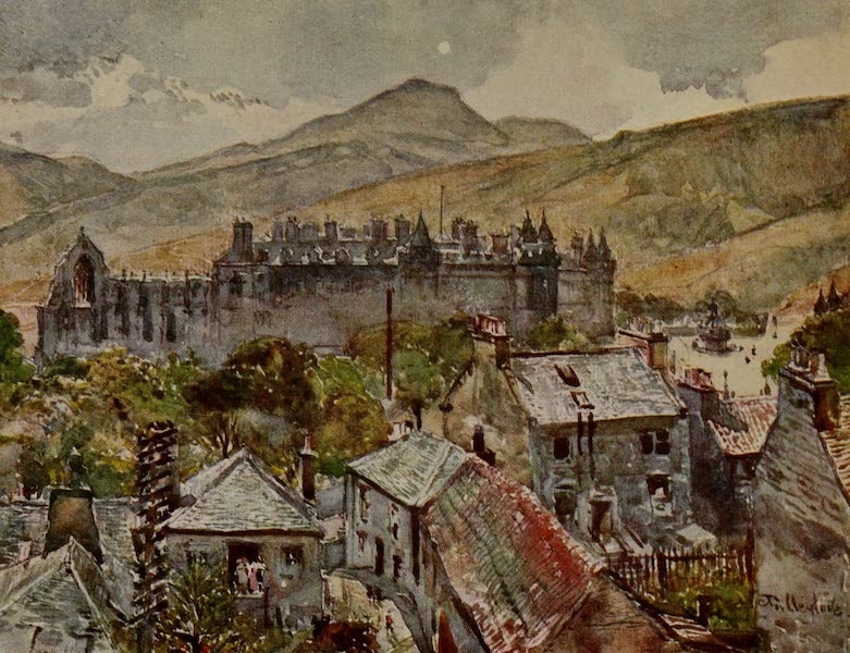 Edinburgh Painted and Described - Holyrood Palace from the Public Gardens under Calton Hill (1904)