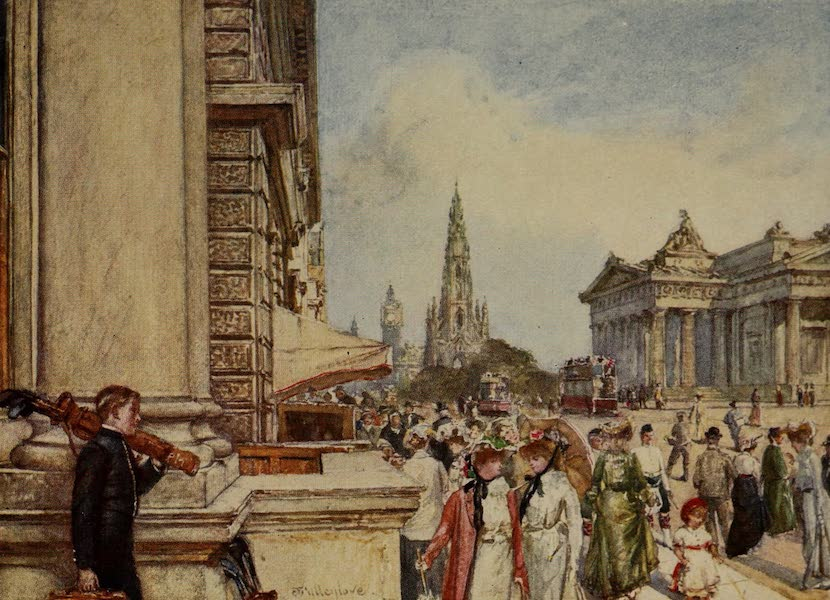Edinburgh Painted and Described - Princes Street from the Steps of the New Club (1904)
