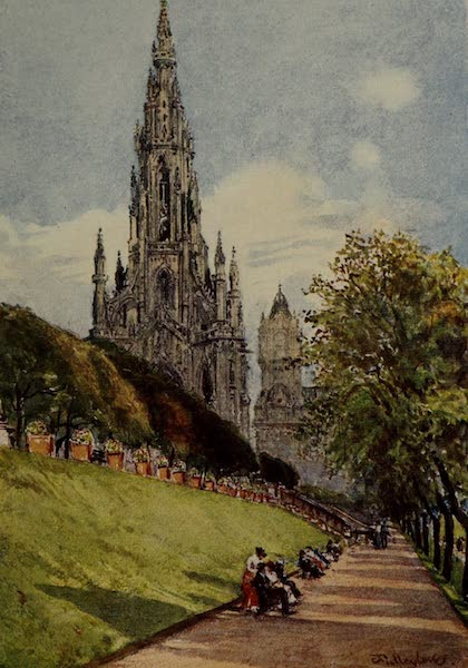 Edinburgh Painted and Described - Sir Walter Scott's Monument from the East Princes Street Gardens (1904)