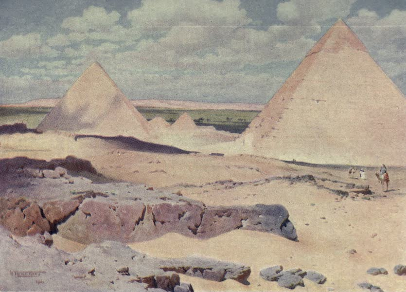 Egypt, Painted and Described - The Pyramids of Gizeh from the Desert (1902)