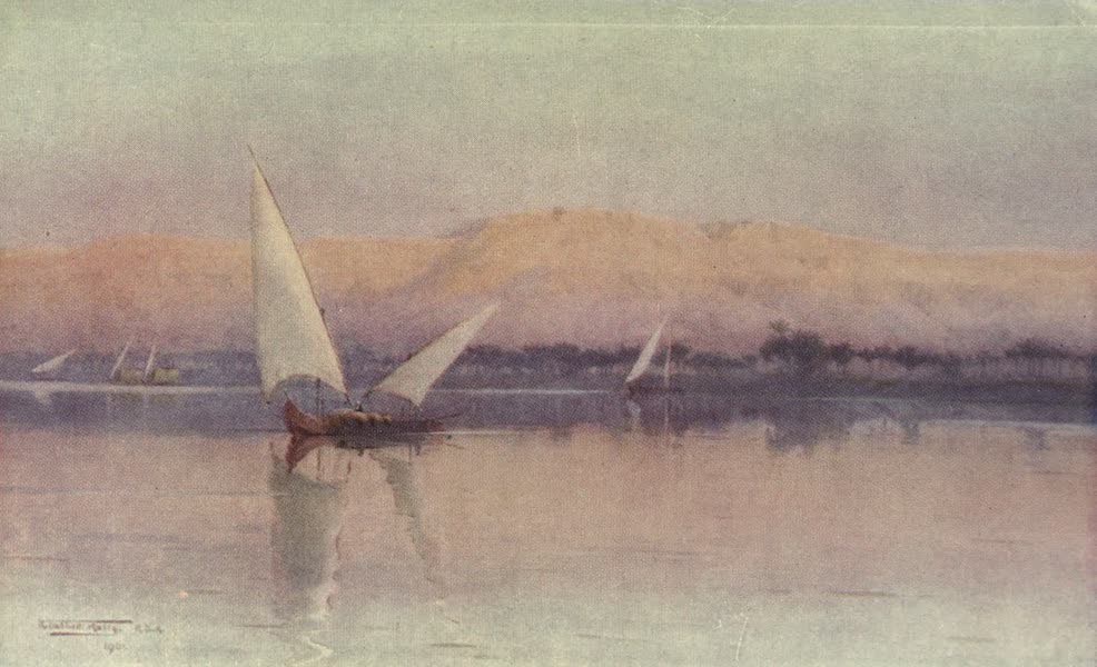 Egypt, Painted and Described - A Tibbin Boat on the Nile (1902)