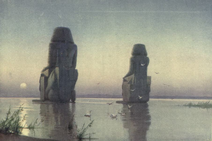 Egypt, Painted and Described - The Colossi of Thebes - Moonrise (1902)