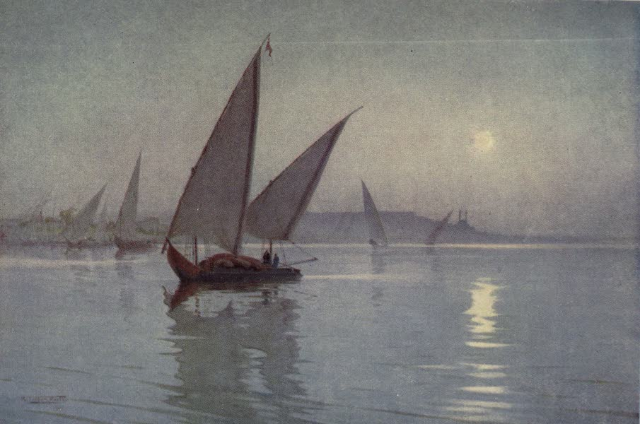 Egypt, Painted and Described - Moonlight on the Nile, below Cairo (1902)