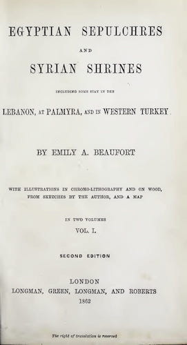 Egyptian Sepulchres and Syrian Shrines Vol. 1 (1862)