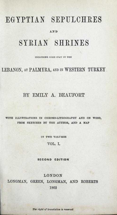 Egyptian Sepulchres and Syrian Shrines Vol. 1 - Title Page (1862)