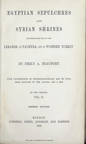 Egyptian Sepulchres and Syrian Shrines Vol. 2 (1862)