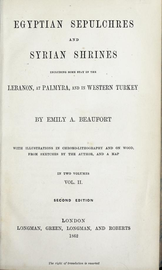 Egyptian Sepulchres and Syrian Shrines Vol. 2 - Title Page (1862)