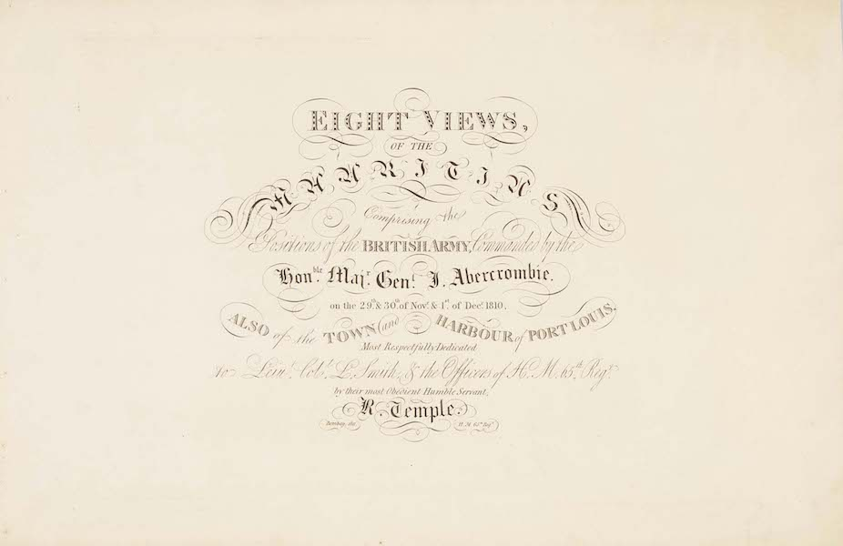 Eight Views of the Mauritius - Title Page (1813)