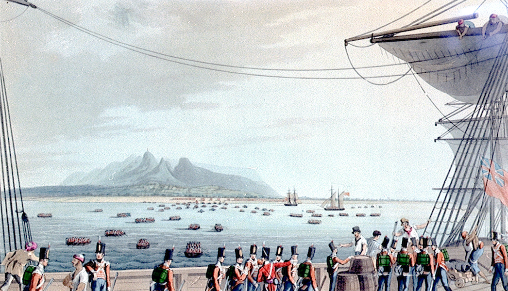 Eight Views of the Mauritius - View from the Deck of the Upton Castle Transport, of the British Army Landing (1813)