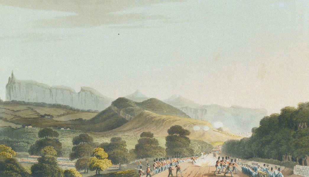 Eight Views of the Mauritius - Part of the British Army, forming before Port Louis (1813)