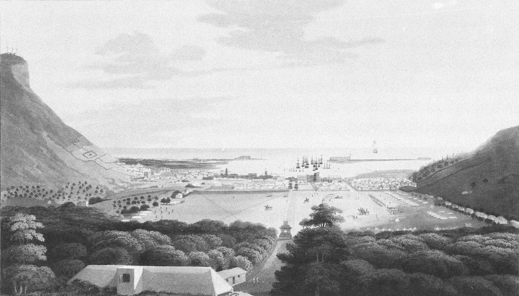 Eight Views of the Mauritius - Port Louis, from the Champ de Mars (1813)