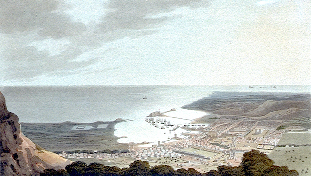 Eight Views of the Mauritius - The Town, Harbour, and Country, Eastward of Port Louis (1813)