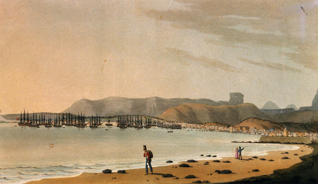 Eight Views of the Mauritius - The Town of Port Louis, from the West of the Harbour (1813)