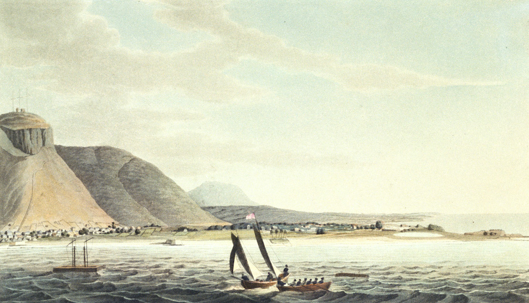 Eight Views of the Mauritius - The West of Port Louis from the Harbour (1813)
