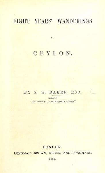 Eight Years' Wanderings in Ceylon - Title Page (1855)