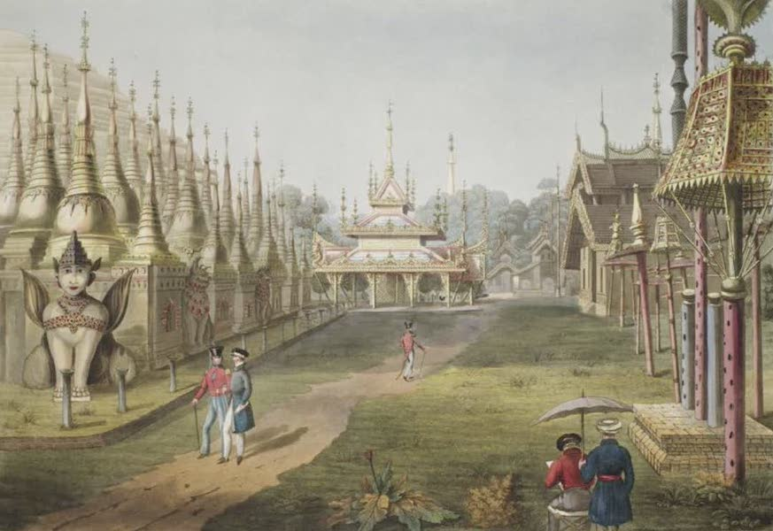 Eighteen Views taken at and near Rangoon - Scene upon the Terrace of the Great Dagon Pagoda at Rangoon looking towards the North (1826)