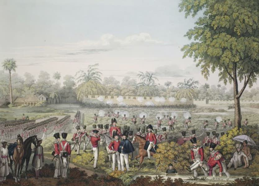Eighteen Views taken at and near Rangoon - The Attack upon the Stockades near Rangoon by Sir Archibald Campbell, K.C.B. on the 28th May 1824 (1826)