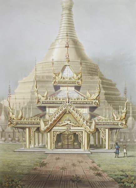 Eighteen Views taken at and near Rangoon - The Gold Temple of the principal Idol Guadma, taken from its front being the Eastern face of the Great Dagon Pagoda at Rangoon (1826)